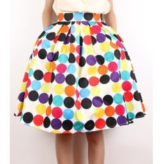 Vintage Full Colored Dots Print High Waist A-Line Design Women's Skirt