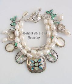 Schaef Designs Opal Turquoise White MOP Pearl Sterling Silver  Charm Bracelet  #SchaefDesignsJewelry