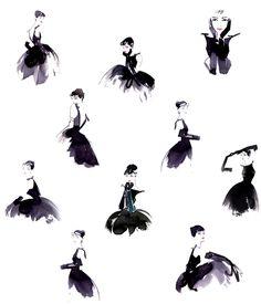 Audrey Hepburn The Little Black Dress Illustration Audrey Hepburn Tattoo, Foto Transfer, Dress Illustration, Audrey Hepburn Illustration, Tinta China, Le Far West, Art Graphique, Mode Vintage, Brigitte Bardot