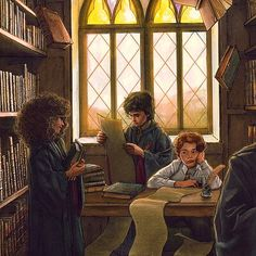 Harry Potter Illustrations, Harry Potter Artwork, Harry Potter Drawings, Harry Potter Wallpaper, Harry Potter Fan Art, Harry Potter Universal, Harry Potter Characters, Harry Potter World, Library Drawing