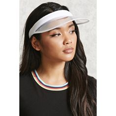 Forever21 Clear French Terry-Lined Visor (£8.14) ❤ liked on Polyvore featuring accessories, sports accessories and white