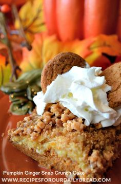 Pumpkin Ginger Snap Crunch Cake Mix Cake Recipe - http://recipesforourdailybread.com/2013/10/16/pumpkin-ginger-snap-crunch-cake/ #pumpkin #thanksgiving