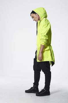 #madox #madoxdesign #parka #jacket #fluo #lime #yellow #model #lookbook #spring #summer