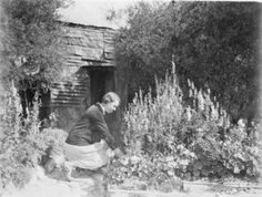 Carrie Hillson- beautiful- tending her garden during the Great Depression