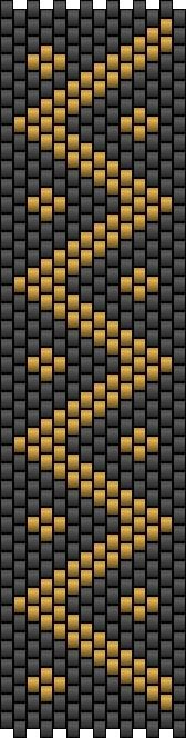 Black with gold zigzag