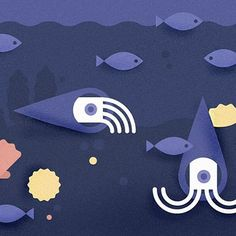 Sneak peak of some #illustration I am doing for an upcoming #game / #app.  I added one of my favorite creatures in the whole world - Orthocerida Nautiloids. Hope you like 'em. More as the game develops. #freelance #sacredgeometry #underwater #underdeesea #marinebiology #fish