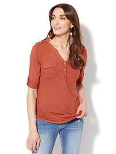 Shop Lace-Accent Split-Neck Knit Top. Find your perfect size online at the best price at New York