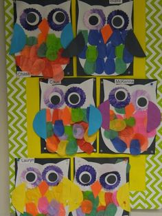 preschool owls.  A cute project to use during your owl themed unit