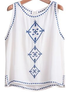 Shop White Sleeveless Embroidered Drawstring Vest online. Sheinside offers White Sleeveless Embroidered Drawstring Vest & more to fit your fashionable needs. Free Shipping Worldwide!