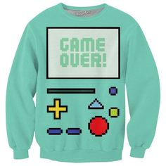 Game Over BMO Crewneck Sweatshirt *Ready to Ship* ($45) ❤ liked on Polyvore featuring tops, hoodies, sweatshirts, blue crew neck sweatshirt, all over print sweatshirts, crew-neck sweatshirts, crew top and crewneck sweatshirt