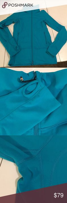 Lululemon Teal Double Zip Turtleneck Jacket Turtleneck jacket with double zippers, zipper garage, and thumbholes. There is some wash and friction wear, particularly around the underarms (see pic 2). There is also a small pull on the left cuff (see pic 4). Otherwise, no defects. lululemon athletica Jackets & Coats