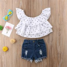 Haven Polka Dot Top & Jean Shorts Set - Olive and Quin Baby Girl Dresses, Baby Dress, Baby Girl Fashion, Kids Fashion, Toddler Girl, Baby Kids, Kids Outfits, Cute Outfits, Baby Frocks Designs