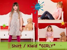 PDF Sewing Pattern for Girls' Basic Shirt and Dress with Sleeves - *Girly* at Makerist Girly, Machine Embroidery Projects, Basic Shirts, Short Sleeves, Dresses With Sleeves, Pdf Sewing Patterns, Kids Outfits, Kids Rugs, Etsy