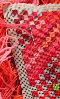A bit of canvas and a bunch of red leftover yarn - et voila. - great idea - maybe using burlap #needlepoint
