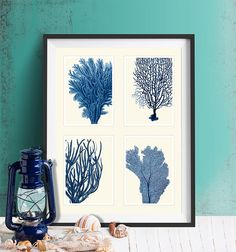 Blue Coral Print on 4 Panels Nautical print beach by NauticalNell