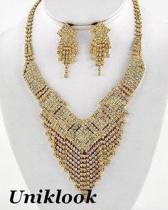 Amazing Bib Clear Rhinestone Crystal Gold Necklace Set Prom Bridal Evening Set