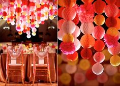 decoration-plafond-mariage-pompons