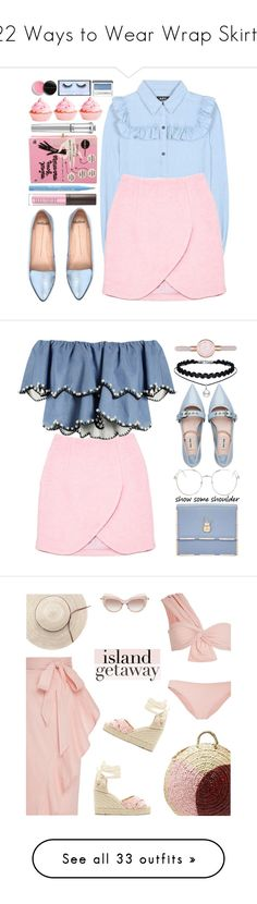 """""""22 Ways to Wear Wrap Skirts"""" by polyvore-editorial ❤ liked on Polyvore featuring waystowear, wrapskirts, A.P.C., Carven, Mollini, Olympia Le-Tan, Laura Mercier, Too Faced Cosmetics, Morgan Lane and Clinique"""