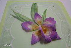 Открытка Поделка изделие Пергамано Открытка Пергамано-Орхидея Бумага Бусины фото 1