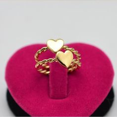 Dainty knuckle gold twisted heart ring, love ring,