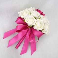 Hot Pink Bridal Bouquets | WEDDING FLOWERS - POSY BOUQUET IVORY ROSES & HOT PINK RIBBON, BRIDES ...