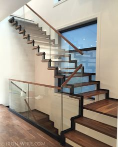 Modern Railings, Custom Stairs Chicago, Modern Staircase design Chicago, Custom Stair Design, Custom Furniture - STAIRS & RAILINGS .   IRON & WIRE.com .   glass risers