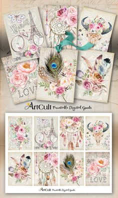 Printable download BOHO CHIC TAGS No2 digital collage sheet shabby flowers feathers bull skull dream catcher for decoupage gift tags ArtCult