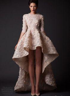 11 Unique Short Summer Wedding Dresses for the Original Bride: Exotic peach high low summer wedding dress with three quarter sleeves by Krikor Jabotian
