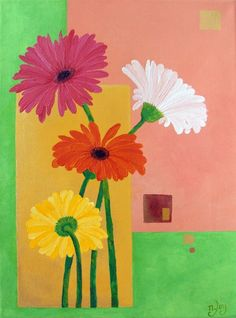Original Painting DAISIES  12x16 Acrylic Canvas Home by nJoyArt, $120.00