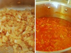 Basic Marinara Sauce    2 large yellow onions, peeled and diced  2 Tbsp olive oil  5-6 cloves of garlic, minced (about 2 Tbsp)  2 Tbsp dried herbs (basil, oregano, rosemary, thyme, etc)* mixed, total  1/2 cup red wine***  12 cups peeled and seeded fresh ripe tomatoes**  salt and pepper to taste