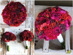 Ramo de novio rojo con rosas  de jardín David Austin. Mayula Flores
