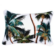 Outdoor cushion in palm trees white  (various sizes available)