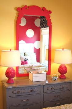 Love the polka-dot wall and this mirror - seriously love different coloured walls in a bedroom especially little children's rooms. polka dots are the cutest as well! not too sure about the mustard colour and red but maybe pinks and purples? - so cute for one of my  future babies
