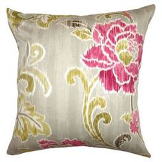 "Cotton throw pillow with a floral ikat motif and down fill. Made in the USA.     Product: PillowConstruction Material: Cotton cover and down fillColor: Fuchsia and goldFeatures:  Insert includedHidden zipper closureMade in the USA Dimensions: 18"" x 18""Cleaning and Care: Spot clean"