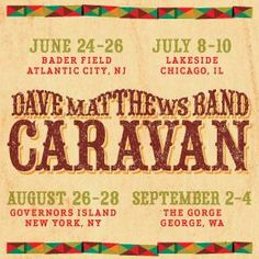 Starting to get geeked about the number of bands I'll get to see perform, on top of the full DMB set each night!