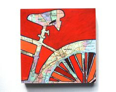Bike Detroit print - small print-featuring lincoln park, royal oak, madison height, grosse pointe park-print of map painting with bike Map Painting, Mixed Media Painting, Madison Heights, Detroit Michigan, Detroit Area, Thing 1, Bicycle Art, Royal Oak, Panel Art