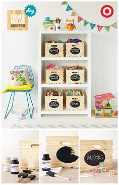 Make your kids' toy room look tidy (even if for a moment) with the Hand Made Modern collection. Dress up wooden crates with chalkboard paint for easy labeling.