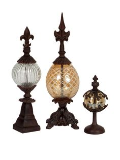 Set Of 3 Glass and Metal Finials, Bronze/Clear