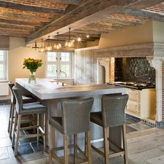 Wooden beams with exposed brick | Beautiful Kitchen Space