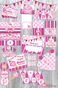 Ice cream party package diy cupcake topper by LittlePinkElephant03, $27.00