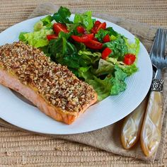 Recipe for Quick and Easy Pecan-Crusted Dijon Salmon; perfect for Valentine's dinner!  [from Kalyn's Kitchen] #LowCarb  #SouthBeachDiet  #GlutenFree