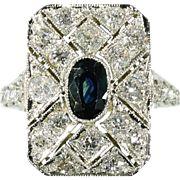 Diamond and sapphire Art Deco engagement ring