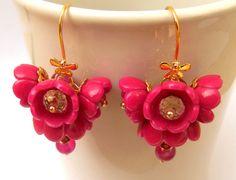 Boucles d'oreilles fleur rose chaud Dangle boucles par insoujewelry