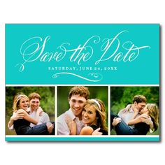 Blue Photo Save the Date | Calligraphy Script Postcard
