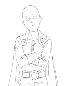 One punch man Saitama looking at Genos coloring pages - Anime Drawings Sketches, Anime Sketch, Manga Drawing, Saitama One Punch Man, Hxh Characters, One Punch Man Manga, Man Sketch, Anime One, Animes Wallpapers