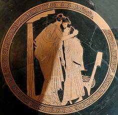 Erastes (lover) and eromenos (beloved) kissing, tondo of an Attic red-figured cup, circa 480 BC.