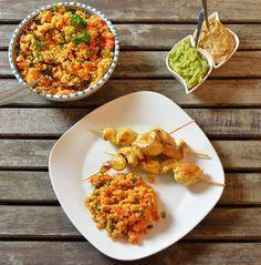 Afrikanische Hähnchenspieße mit Bulgursalat - Katha-kocht!