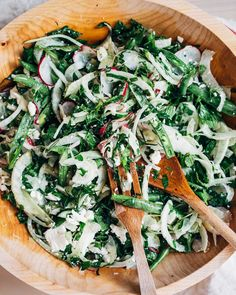 lily's lemony fennel, radish, and kale salad // brooklyn supper-Minus the feta