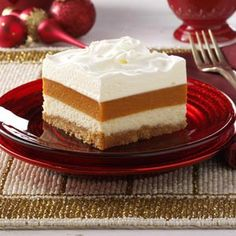 Potluck Pumpkin Torte Recipe- Recipes A local newspaper featured this potluck-friendly recipe years ago. A creamy alternative to pumpkin pie, it quickly became one of my favorites. Potluck Desserts, Fall Desserts, Just Desserts, Delicious Desserts, Dessert Recipes, Yummy Food, Pumpkin Recipes, Fall Recipes, Holiday Recipes