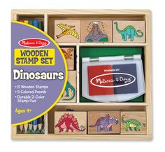 Dinosaur Stamp Set : Imagine a landscape full of dinosaurs!  Children love using the 8 detailed dino stamps and a two-color inkpad.  Its fun creating countless scenes, and coloring in the pictures with the 5 colored pencils!  This well-crafted set is conveniently contained in a sturdy wooden box for organizing and storage.  Its a tremendous value that children will use over and over again!  Washable, non-toxic kid-friendly ink.